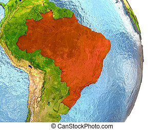 Brazil in red on Earth