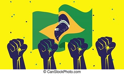 brazil independence day celebration with flag and strong ...