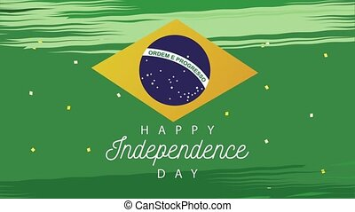 brazil independence day celebration with lettering and flag...