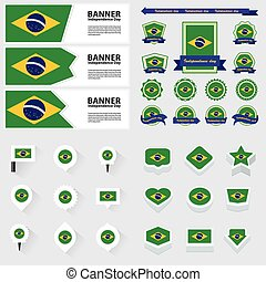 brazil independence day, infographic, and label Set.