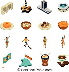 Brazil Isometric Icons Set