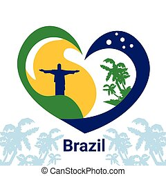 Brazil Jesus Statue lag Colors Colorful Banne
