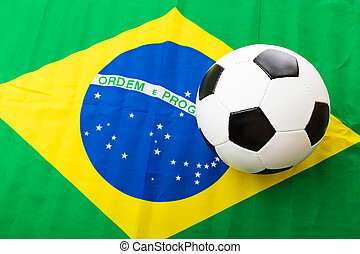 brazil lobogó, és, focilabda