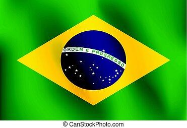 brazil lobogó, vektor, -, ábra