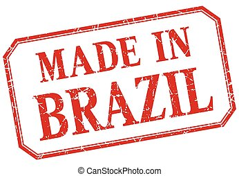 Brazil - made in red vintage isolated label