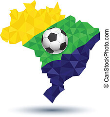 Brazil map abstract with ball
