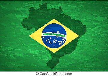 Brazil map An old grunge flag of Brazil state vector