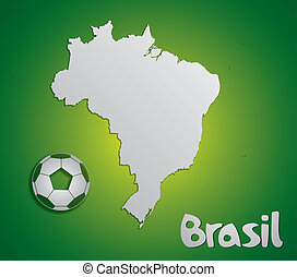 Brazil map card paper 3D natural for 2014 FIFA World Cup