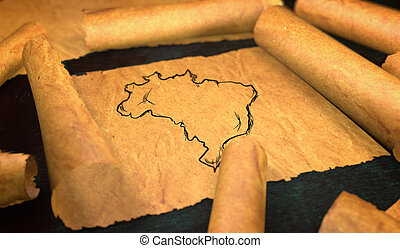 Brazil Map Drawing Unfolding Old Paper Scroll 3D
