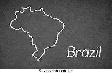 Brazil map drawn on chalkboard