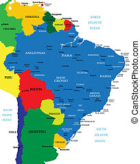 Brazil map - Highly detailed map of Brazil with main...