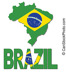 Brazil map flag and text