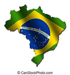 Brazil map flag - Brazil map with rippled flag on white...