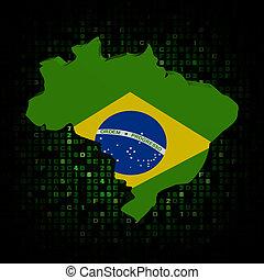 Brazil map flag on hex code illustration
