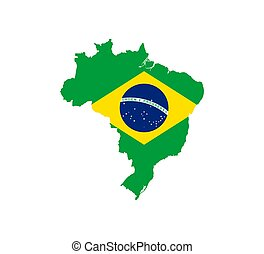Brazil map, flag. Vector illustration, flat design.