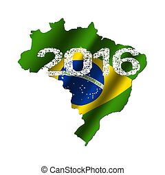 Brazil map flag with grunge 2016 text illustration