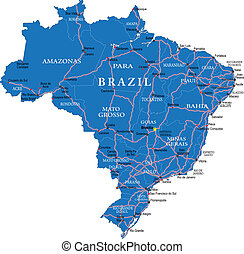Highly detailed vector map of Brazil with administrative regions, main cities and roads.