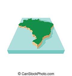 Brazil map icon, cartoon style