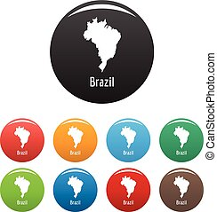 Brazil map in black set vector simple
