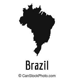 Brazil map in black simple
