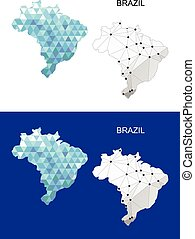 Brazil map in geometric polygonal