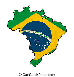 Brazil map on Brazil flag drawing ,grunge and retro flag series