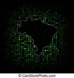 Brazil map silhouette on hex code illustration