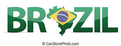 Brazil map text with flag