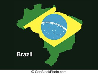 Brazil map with flag inside, brazil