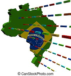 Brazil map with lines of export containers