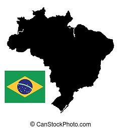Brazil map with official national flag