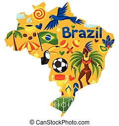 Brazil map with stylized objects and cultural symbols.