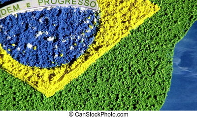 Brazil map, zoom out, blue