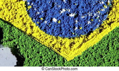 Brazil map, zoom out, white - Brazil map and flag, zoom out,...