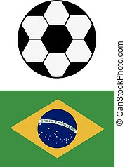 Brazil national flag background texture and football.