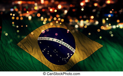 Brazil National Flag Light Night Bokeh Abstract Background