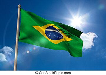 Brazil national flag on flagpole