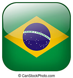 Brazil national flag square button isolated on white background