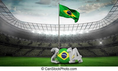 Brazil national flag waving in foot