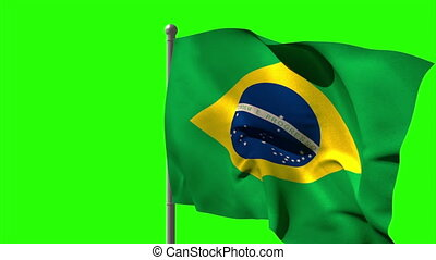 Brazil national flag waving on flagpole on green screen...