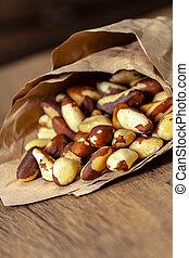 Brazil nut in paper bag