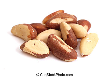Brazil nuts (Bertholletia excelsa) isolated on a white