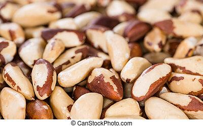 Brazil Nuts (detailed close-up shot) on an old vintage background