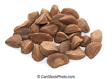 Group of brazil nuts isolated on white background