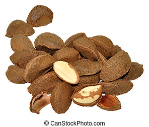 Pile of Brazil nuts in shells, isolated on a white background.