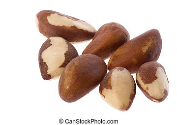 Brazil Nuts Isolated - Isolated macro image of Brazil nuts.