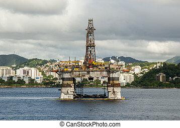 Brazil - Oil Rig In Guanabara Bay - Rio de Janeiro - Brazil...