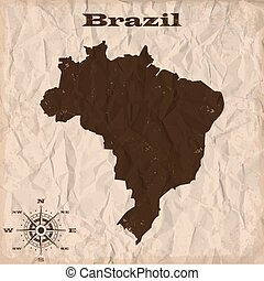 Brazil old map with grunge and crumpled paper. Vector illustration
