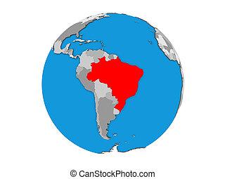 Brazil on 3D globe isolated