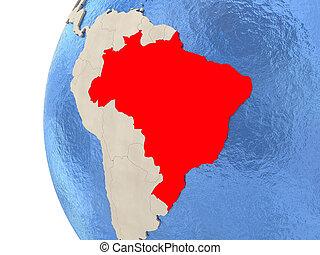 Brazil on 3D globe